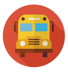 Flat School and Education Bus Circle Icon with vector