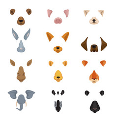 Funny animal faces for phone video chart app vector