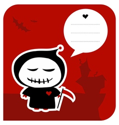 Funny grim reaper halloween greeting card vector image
