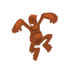 Funny happy bigfoot having fun mythical creature vector