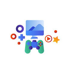gaming console computer screen and game vector image