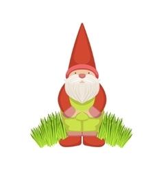 Garden Gnome Standing On Grass vector