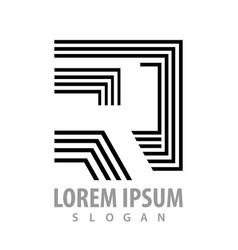 geometric line letter r concept design symbol vector image