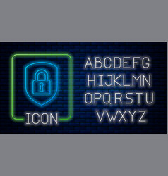 Glowing neon shield security with lock icon vector