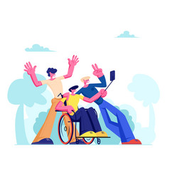 Group friends with disabled man in wheelchair vector