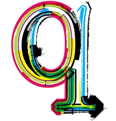 Grunge colorful font Letter q vector image
