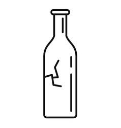 Half broken bottle icon outline style vector