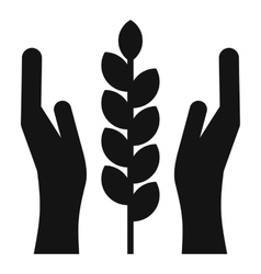 Hands and ear of wheat icon simple style vector