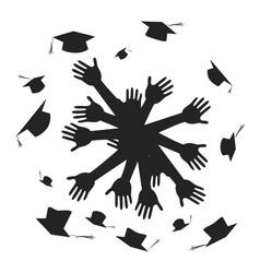 Hands celebrating graduation circle vector
