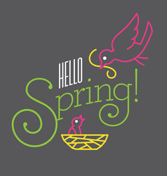 hello spring design with cute bird drawings vector image