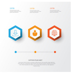 Internet icons set collection blog page vector