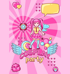 japanese anime cosplay party invitation cute vector image