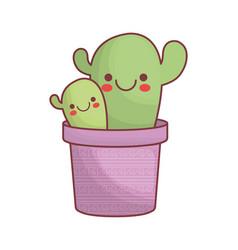 Kawaii cactus in a pot icon vector