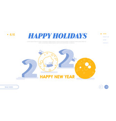landing page web design with happy chinese new vector image