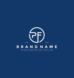 Letter pf logo design vector