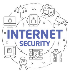 lines internet security vector image