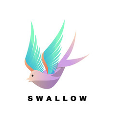 logo swallow gradient colorful style vector image