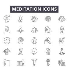 meditation line icons signs set outline vector image