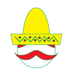 Mexican man face with hat and mustache portrait vector