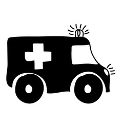 monochrome hand drawn silhouette of ambulance vector image