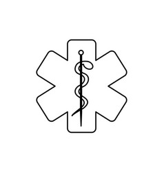 Monochrome silhouette of health symbol with star vector