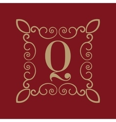 Monogram letter Q Calligraphic ornament Gold vector