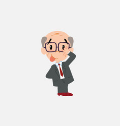 Old businessman with glasses sticks out his vector