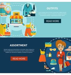 Online shopping assortment banners set vector