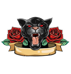 panther snake roses tattoo graphic vector image