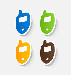 Paper clipped sticker mobile phone cell vector