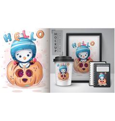 Penguin in pumpkin - poster and merchandising vector