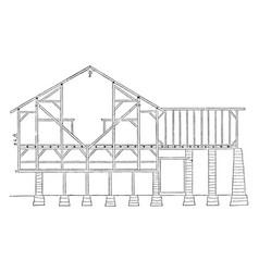Pennsylvanian barn frame works timber vintage vector