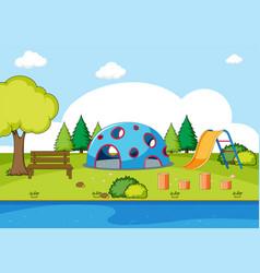 Playground in park scene vector