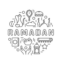 Ramadan kareem round emblem with lettering vector
