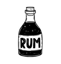 rum bottle in engraving style design element vector image