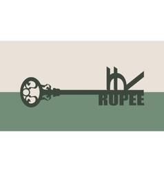 Rupee Symbol on key vector image
