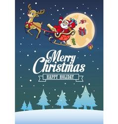 Santa claus and deer fly around night sky vector