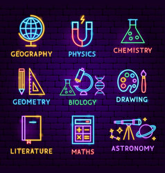 school subject neon label set vector image