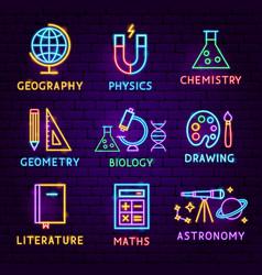 School subject neon label set vector