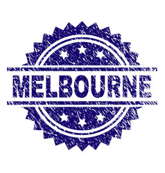 Scratched textured melbourne stamp seal vector