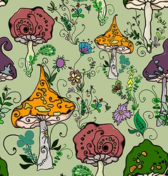 seamless pattern of fantasy mushrooms vector image