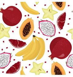 Seamless pattern with fruits fresh bananas vector