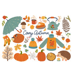 Set autumn items isolated on a white background vector