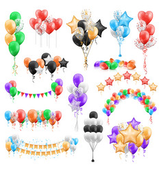 Set balloon bunches garlands isolated groups vector