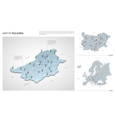 set bulgaria country isometric 3d map bulgaria vector image