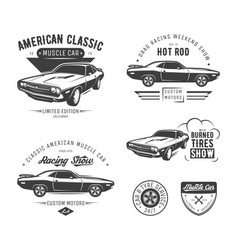 set classic muscle car emblems vector image
