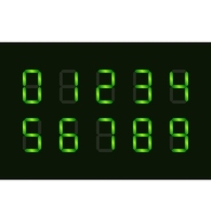 Set of green digital number signs made up from vector image