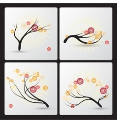 Set of hand drawn branches and abstract flowers vector image
