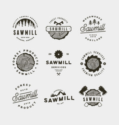 set of sawmill logos retro styled woodwork vector image