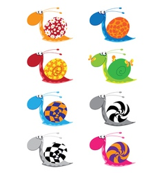 snail funny set vector image